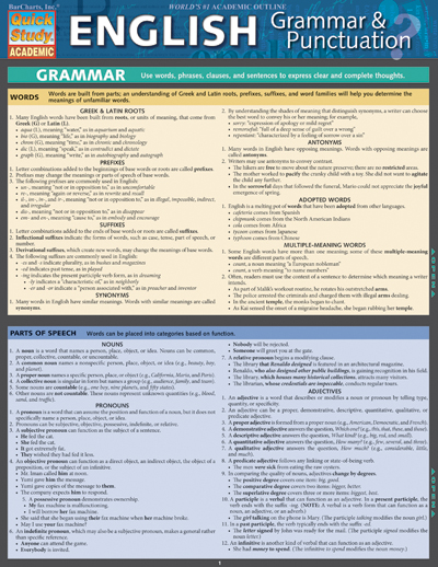 English Grammar & Punctuation: QuickStudy